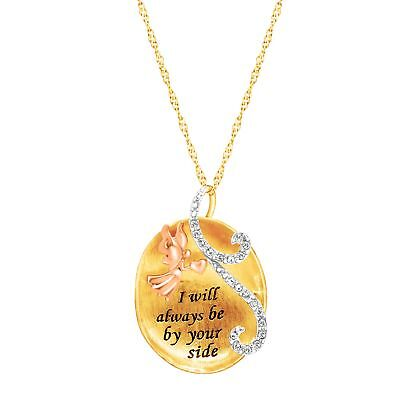Crystaluxe Angel Pendant w/ Swarovski Crystals in 18K Gold over Sterling Silver