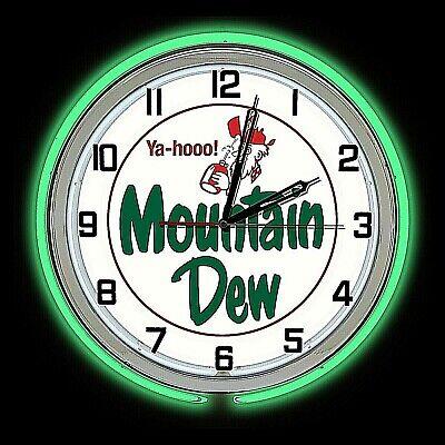 "19"" Mountain Dew Vintage Yahooo Sign Green Double Neon Clock Man Cave Bar Garage"