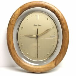 Daniel Dakota Oval Quartz Wall Clock Gold w/ Wood Trim 12 x 10
