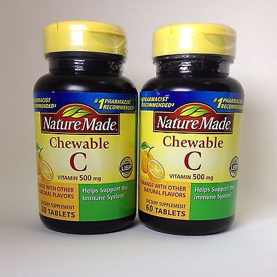 120 Nature Made Chewable Vitamin C 500 mg Lot, Factory New 500mg Tablets