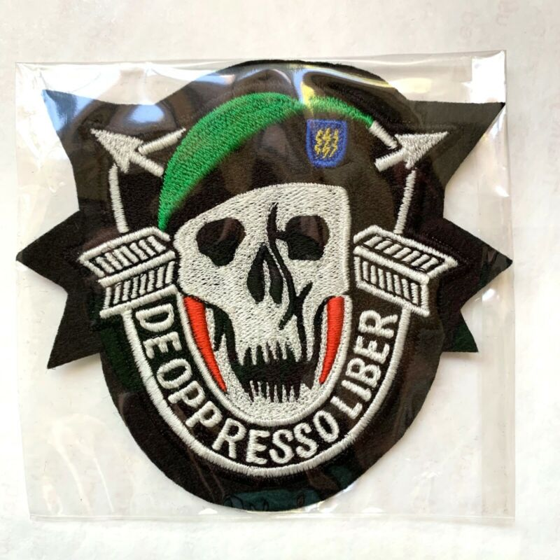 De Oppresso Liber 12th Special Forces Group Green Beret Skull Sew-On Patch