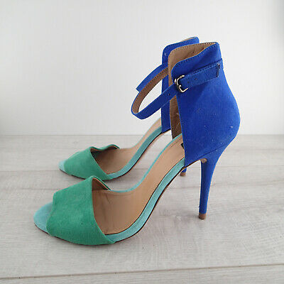 Zara Women's Blue/Green Suede Straps Ankle High Heels Shoes Size 38 sandals 7.5