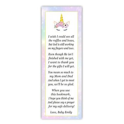 30 bookmarks baby shower sprinkle blue unicorn girl favor ideas personalized - Girl Baby Shower Favors Ideas