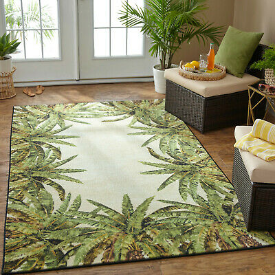 Polyester Tropical Rug (Tropical Island Palm Coastal Green Area Rug **FREE SHIPPING** )