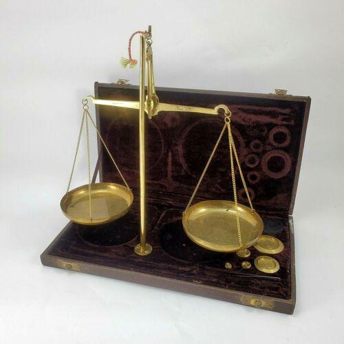 Antique Portable Encased Balance Scale Brass 1 -100 Gram Range Velvet Lined Case