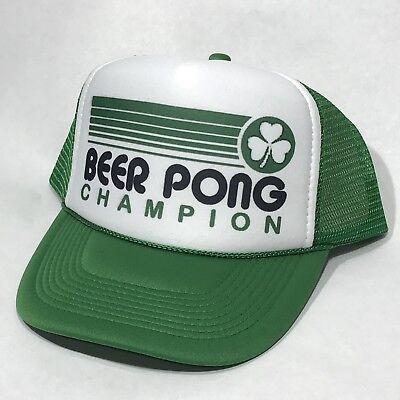 Beer Pong Champion Trucker Hat Shamrock St Patricks Day Party Vintage Snapback