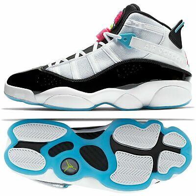 Air Jordan 6 Rings South Beach Men Shoes Sz 9 White Pink/Blue Fury CK0017 (South Beach Jordans)