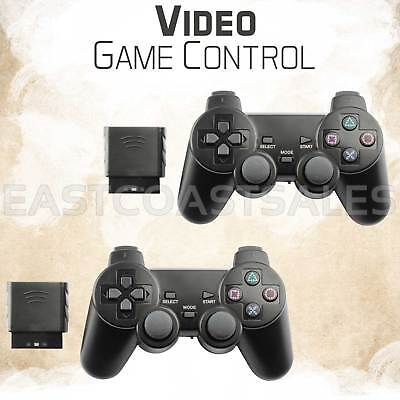 2x For Sony PS2 2.4G Wireless Twin Shock Game Controller Joystick Joypad Black
