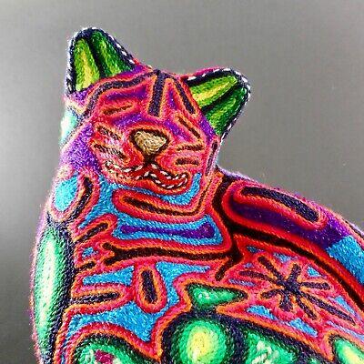Huichol Yarn Art Cat Figurine Signed Mexican Handmade Indigenous Sculpture COA