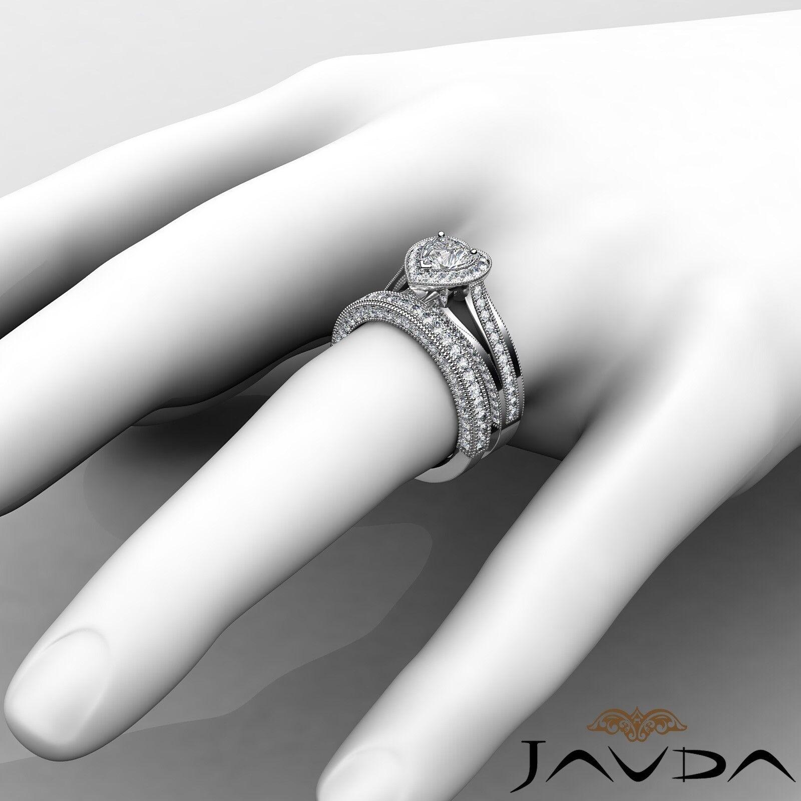 2.24ctw Halo Milgrain Edge Bridal Heart Diamond Engagement Ring GIA F-VS1  Gold 3