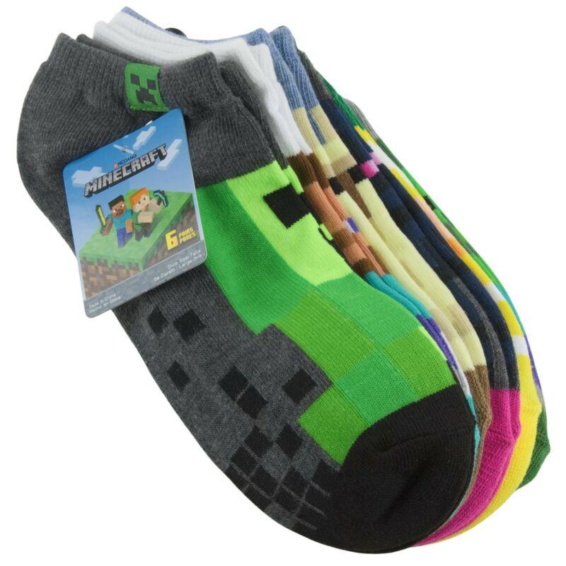 Minecraft Youth Boys Low Cut Socks Sz Large 6 Pair Green Yellow