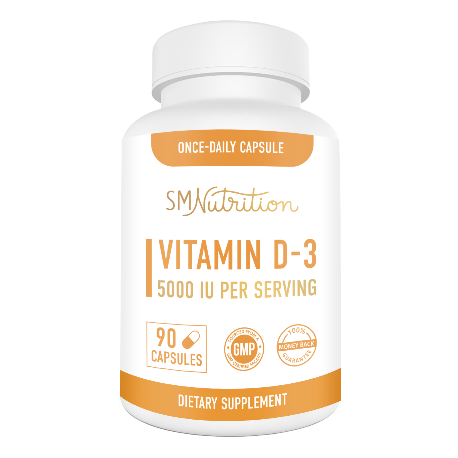 Vitamin D3 125mcg (5000 IU) Supplement for Adults (90 Capsules)