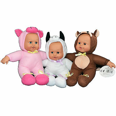 Baby In Cow Costume (Cute Baby Doll in Animal Outfit Costume Piggy Cow 24cm Adorable Play Toy)