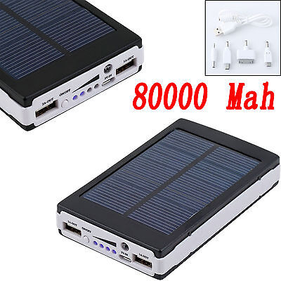 Black 80000mAh Dual USB Portable Solar Battery Charger Power Bank For Cell Phone