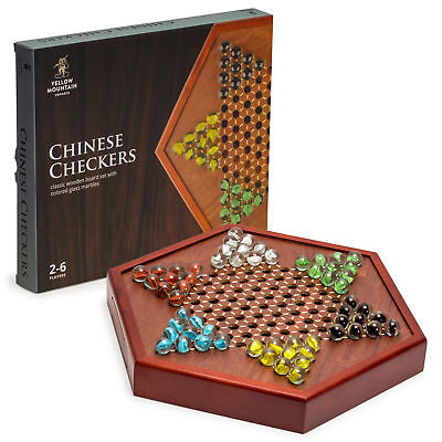 YMI Wooden Chinese Checkers Set with Glass Marbles Board Game w/ Drawer - (Chinese Checkers Game Board)
