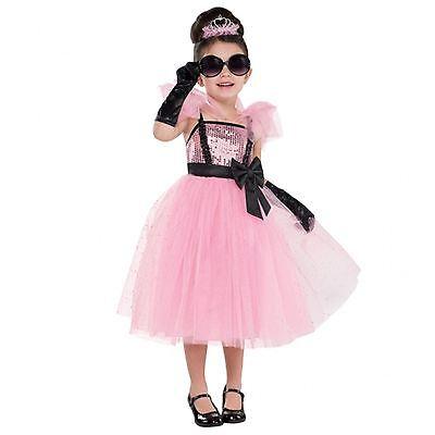 Mädchen Rosa Prinzessin Pailletten Tutu Glam Kostüm Tiara Handschuhe - Rosa Kostüm Handschuhe