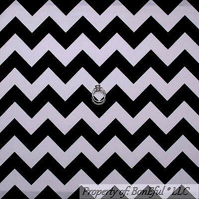 BonEful Fabric FQ Decor Cotton Quilt Black White B&W Wide Retro L CHEVRON - Winter School Decorations