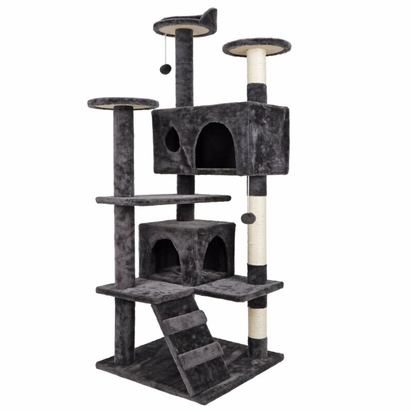 Heavy Duty 53-in Cat Tree & Condo Scratching Post Tower, Dark Gray