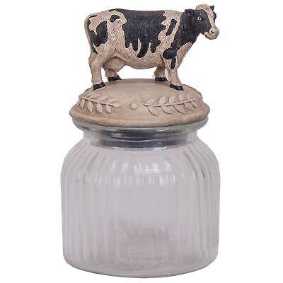 Glass Jar with Cow Figurine Lid Farmhouse Kitchen - Decorative Glass Jars With Lids