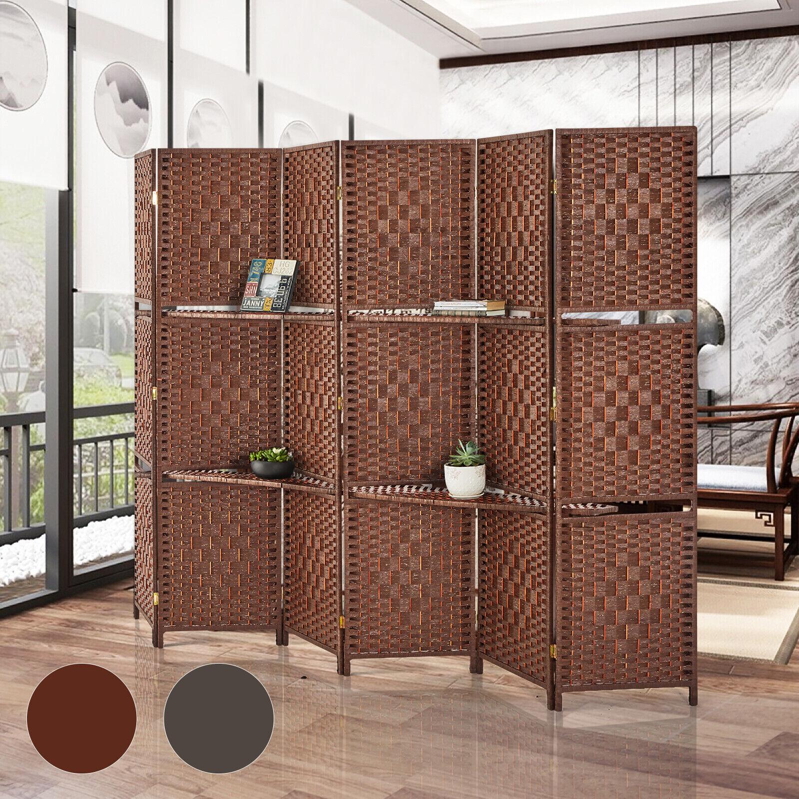 6 Panel Room divider W/ Shelves Weave Fiber Folding Privacy Screen 2 Color Furniture