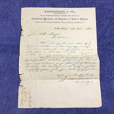 1866 Letterhead Karstendiek Co. New Orleans LA Menger Hotel Whiskey Ring Scandal