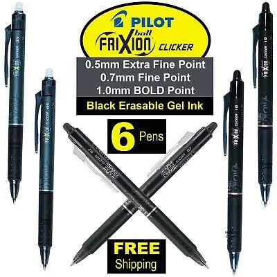 Pilot Frixion Clicker Pens 05 07 10 Black Erasable Gel Ink Pack Of 6 Pens