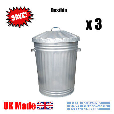 (3) 90 Litre Galvanised Dustbins Tapered Heavy Duty Best UK Made! Package