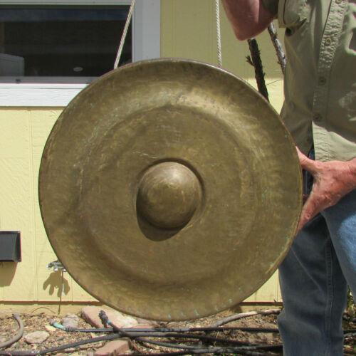 "Vintage Large Bronze 23"" x 3-1/2"" Bao Nipple Handmade Hammered Gong G 2nd Octave"
