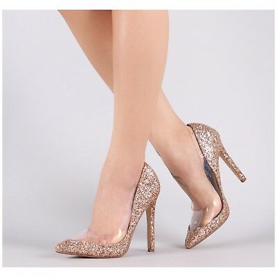 Cape Robbin PRISCILLA-23 Rose Gold Mermaid Glitter Clear Pointy Toe - Mermaid Shoes