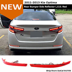 For: 11-13 Kia Optima Rear Bumper Red LED Lens Reflector Tail Light Brake Lamp
