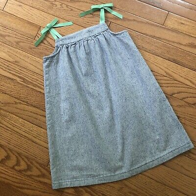 Hanna Andersson Girls Denim A-line Dress with Ribbon Straps in Green  S 110 4-5 (Girls In A Dress)