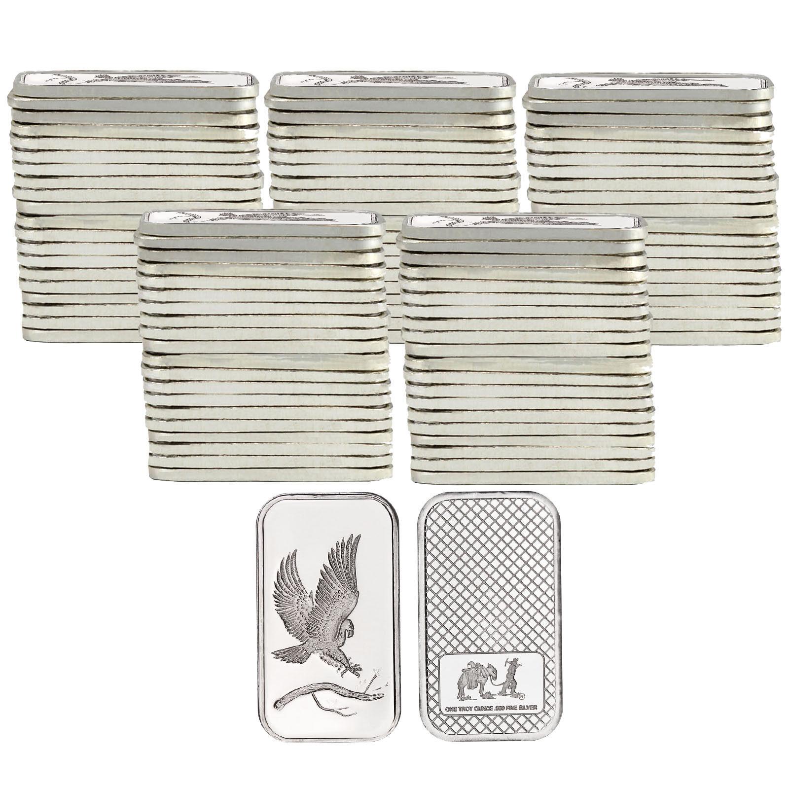 Trademark Bald Eagle 1oz .999 Fine Silver Bars by SilverTowne LOT OF 100