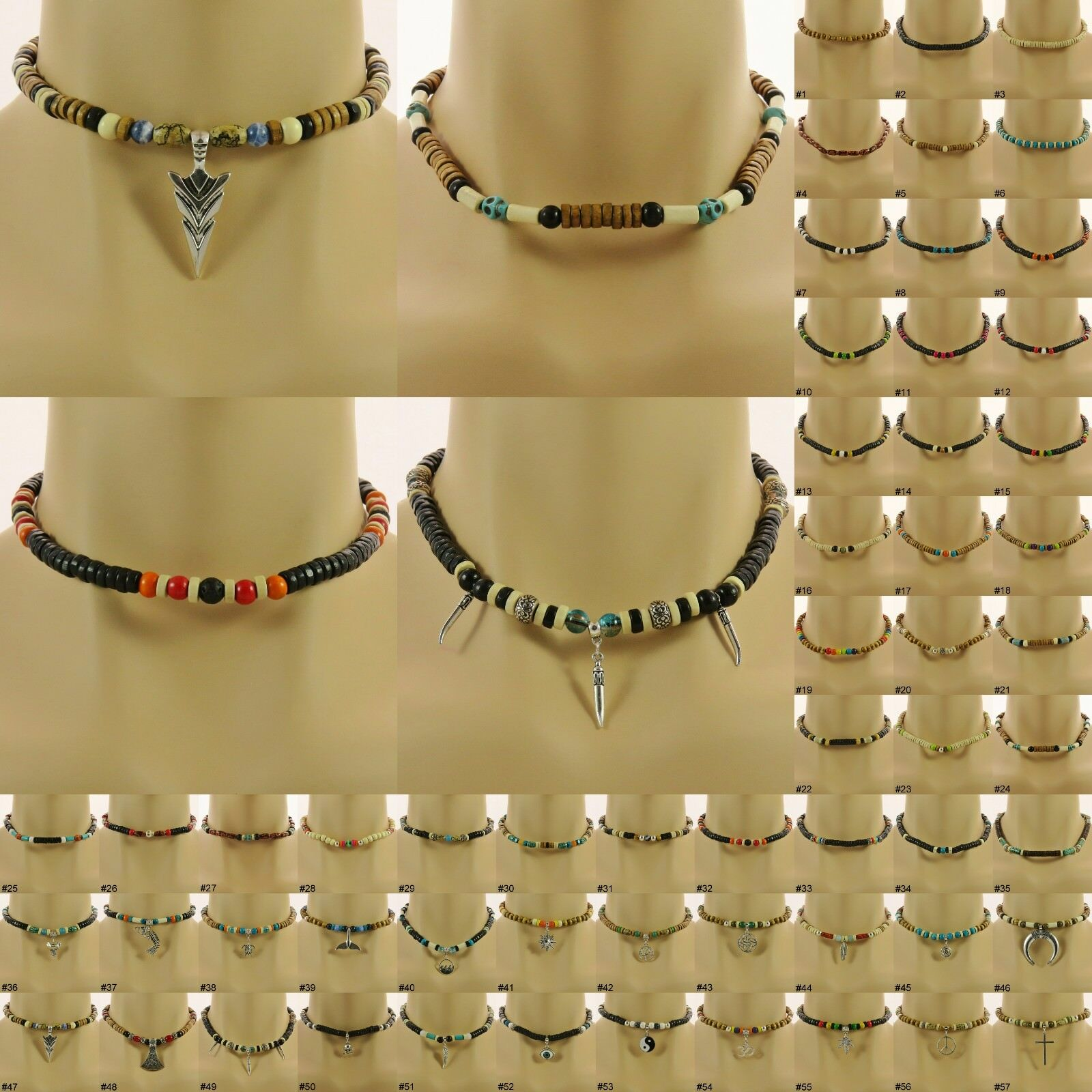 Jewellery - Surfer Style Bead Necklace boho beaded choker mens ladies womens boys jewellery
