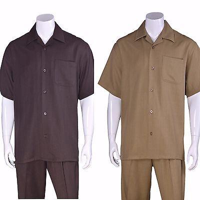Men's 100% Linen Causal Walking Suit ,Short Sleeves and Long Pants M (Suit Short Sleeves)