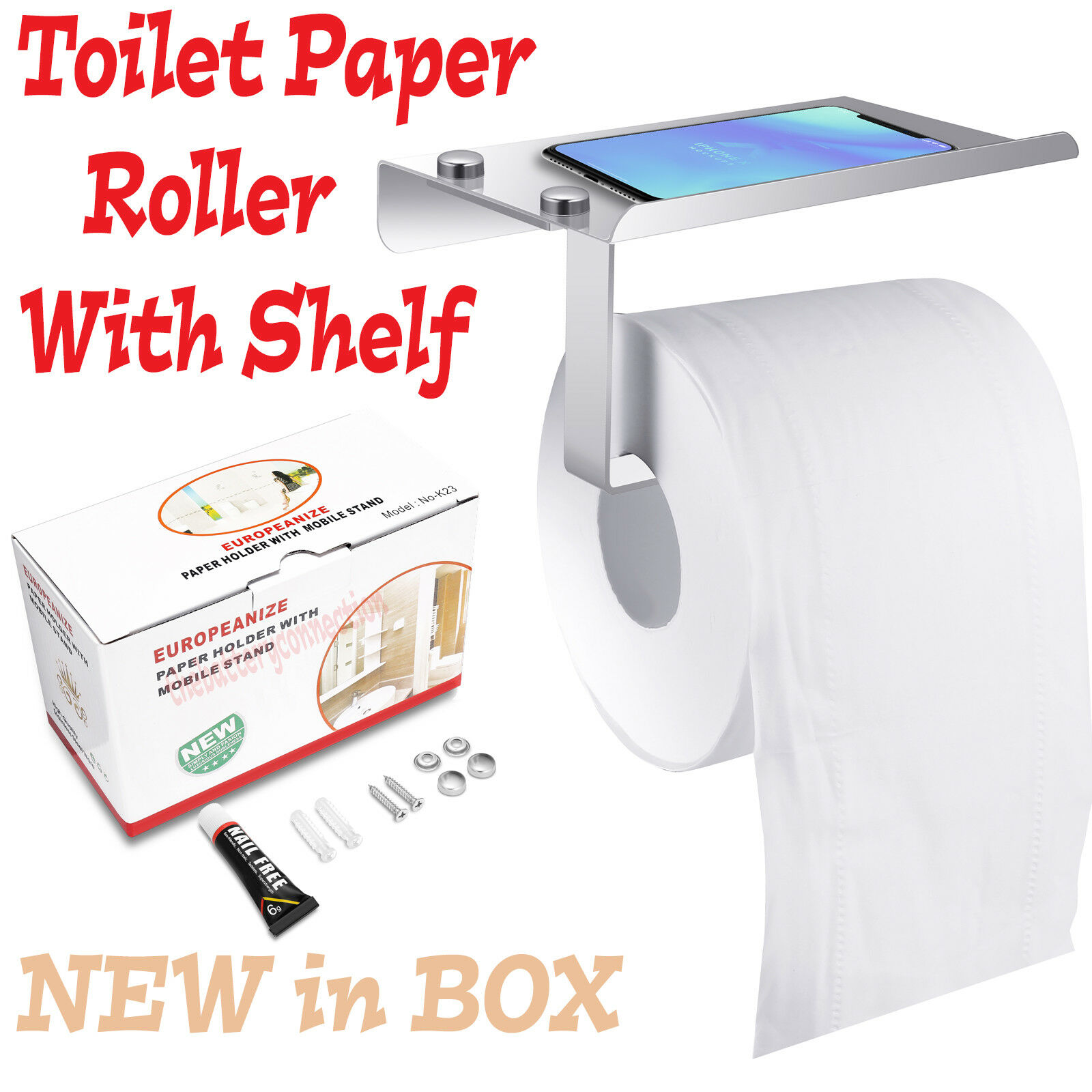 Toilet Paper Holder with Mobile Phone Storage Shelf Holders Wall Mounted Rack Bath