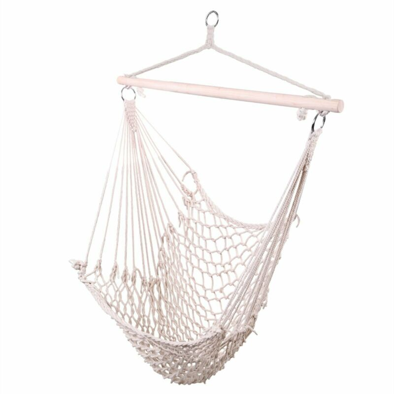 Braided+Cotton+Rope+Single+Seat+Hammock