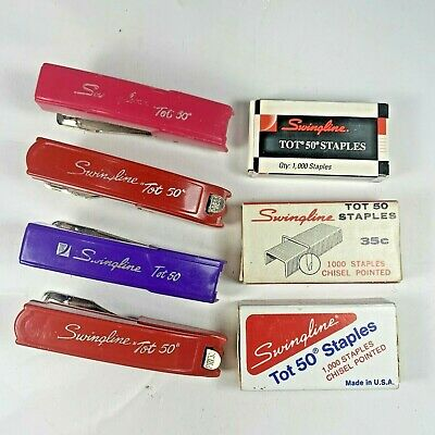 Vintage Swingline Tot 50 Miniature Stapler Lot Of 4 Red Pink Purple Staples