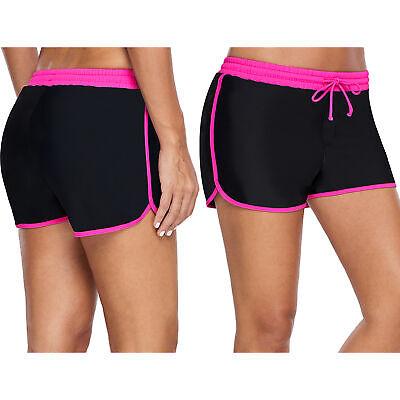 Rosiger besatz aus schwarzem boxershorts damen badeanzug unteren teil bikini (Schwarze Bademode Unten)
