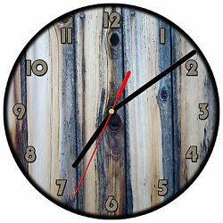 8 WALL CLOCK - Wood 2 Blue Tan Image of weathered boards printed glossy