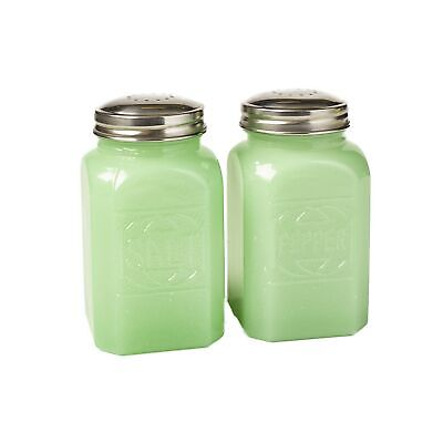 Jade Green Glass Salt and Pepper Set - Vintage Country Kitchen Serving Accents Jade Glass Circle