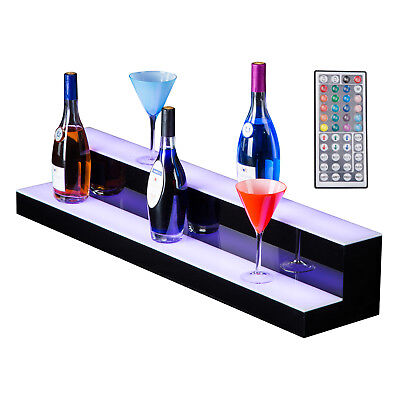 40 2 Shelves Led Display Bar Stand Liquor Bottle Gloss Remote Controlled Black