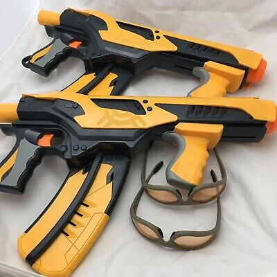 Set Of 2 Nerf 1G Dart Tag Quick 16 Blaster Dart Guns And Safety Glasses HASBRO