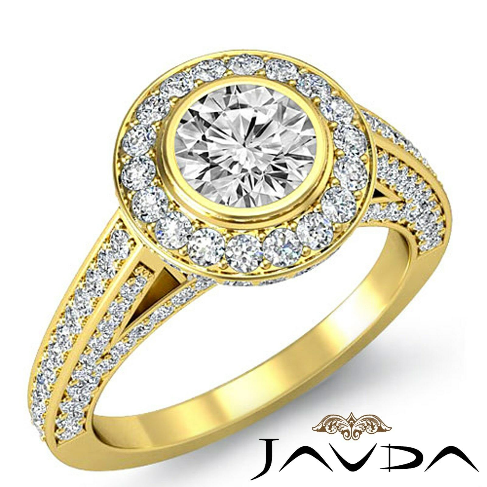 Bridge Accent Circa Halo Round Diamond Engagement Bezel Ring GIA I VS2 2.75 Ct