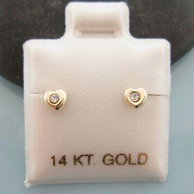 14K Solid Yellow Gold Tiny Baby White CZ Heart Screwback Girl Earrings  Solid 14k Gold Heart Earrings