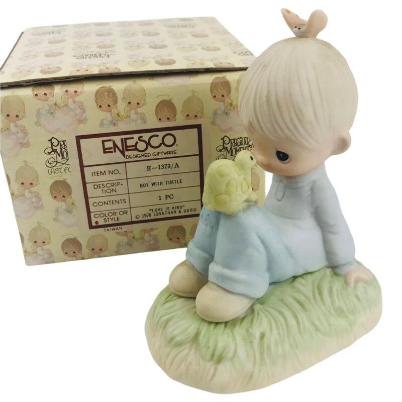 Precious Moments 1977 Boy with Turtle Love is Kind E-1379/A Original 21 Figurine
