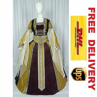 MEDIEVAL RENAISSANCE TUDOR WEDDING HANDFASTING LARP GOWN DRESS COSTUME (18I)