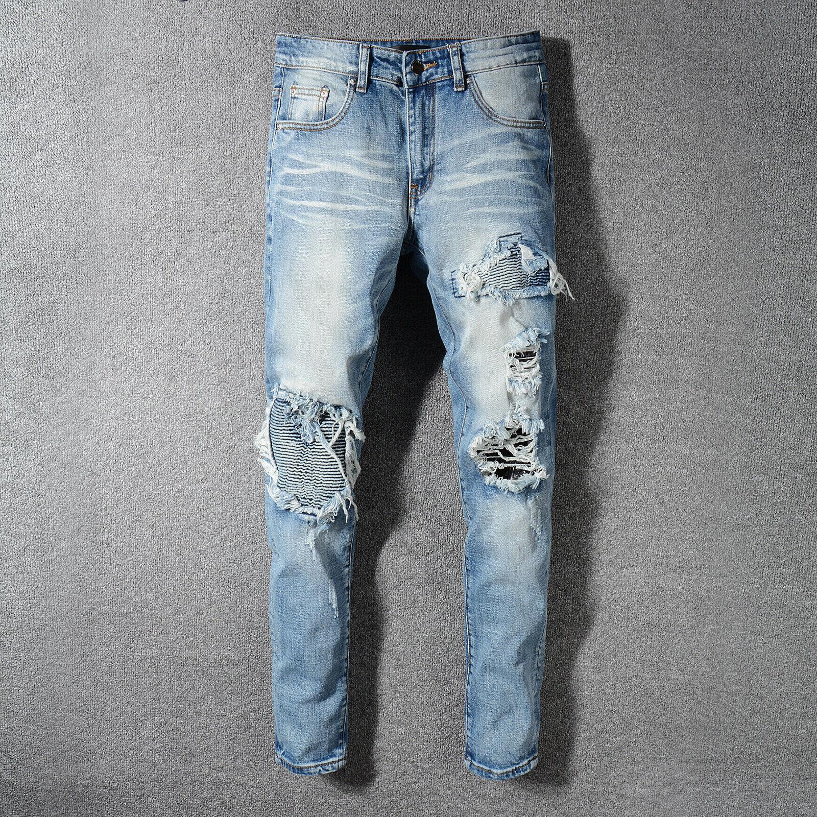 HI-Q Pop Broken Hole Patchwork Stylish Snake Pattern Embroidery Blue Denim Jeans