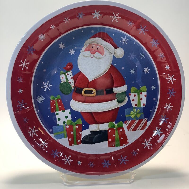 Serving Metal Tray Christmas Santa Clause 9.75 Inches
