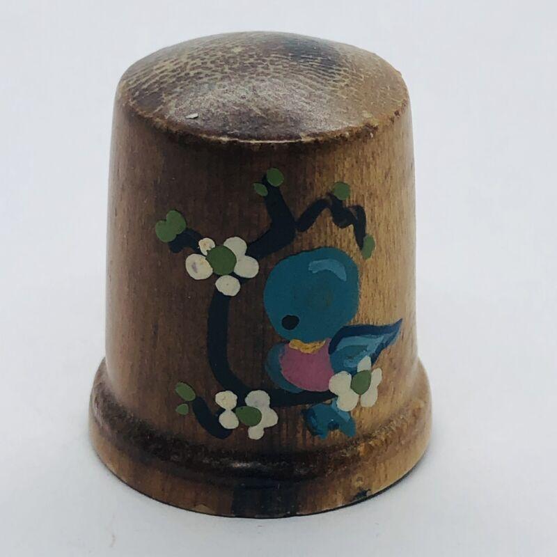Vtg Hand Painted Wooden Souvenir Wood Thimble w/ Bluebird Bird & Flowers