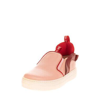 RRP€285 FENDI Leather Sneakers EU30 UK11.5 US12.5 Ruffle Slip On Made in Italy